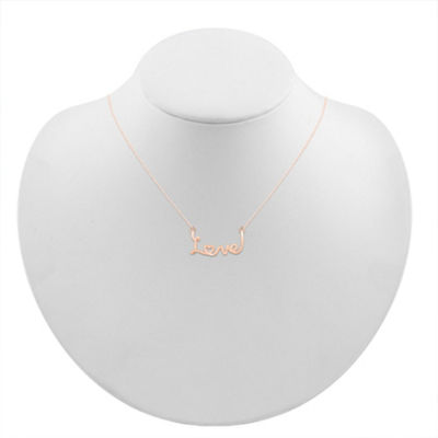 Womens 10K Rose Gold Heart Pendant Necklace