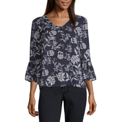 Liz Claiborne Womens V Neck 3/4 Sleeve Blouse