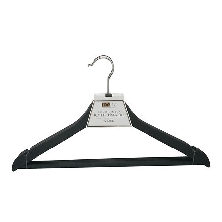 3 Pack Rubberized Wood-Like Roller Hanger, One Size , Black