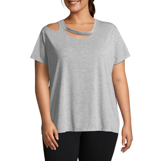 Xersion Short Sleeve Double Cut Out Tee - Plus