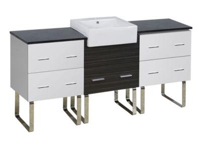69.25-in. W 18-in. D Modern Plywood-Melamine Vanity Base Set Only In White-Dawn Grey