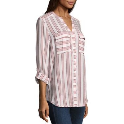 a.n.a  Long Sleeve Roll-Tab Pleat Pocket Blouse