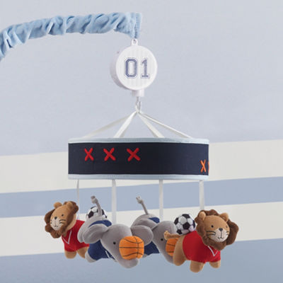 Lambs & Ivy Future All Star Blue/Gray Sports Musical Mobile Baby Mobile
