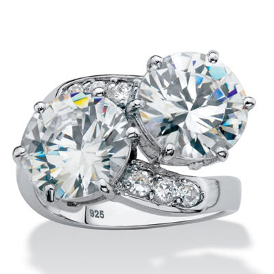 Diamonart Womens White Cubic Zirconia Platinum Over Silver Cocktail Ring