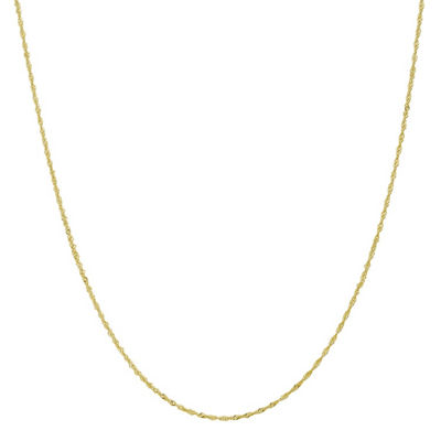 10K Gold 14 Inch Solid Singapore Chain Necklace