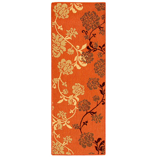 Safavieh Courtyard Collection Cole Floral Indoor Outdoor Runner Rug