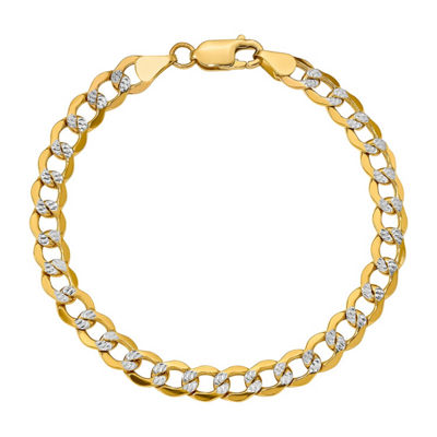 Mens 8 Inch 14K Gold Chain Bracelet