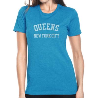 Los Angeles Pop Art Women's Premium Blend Word ArtT-shirt - POPULAR NEIGHBORHOODS IN QUEENS; NY