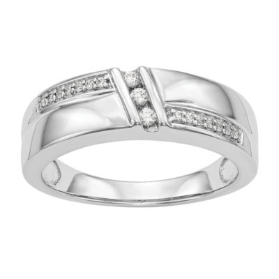 Mens 6MM 1/6 CT. T.W. Genuine White Diamond 14K White Gold Wedding Band