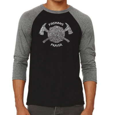 Los Angeles Pop Art Men's Raglan Baseball Word Art T-shirt - FIREMAN'S PRAYER