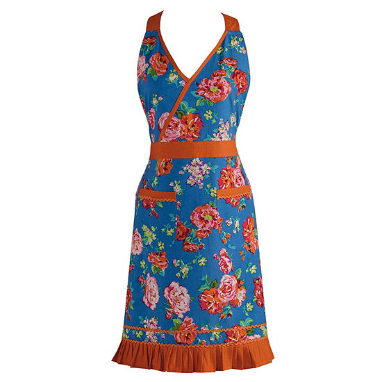 Blue Floral With Orange RicRac Vintage Apron