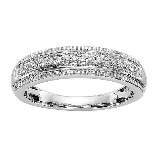 Mens 4MM 1/10 CT. T.W. Genuine White Diamond 14K White Gold Wedding Band