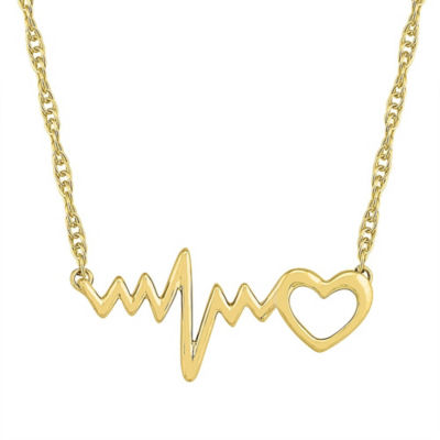 Womens 10K Gold Heart Pendant Necklace