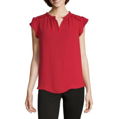 Liz Claiborne Short Sleeve V Neck Woven Blouse