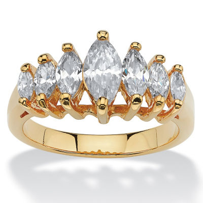 Diamonart Womens 1 1/2 CT. T.W. White Cubic Zirconia 18K Gold Over Brass Engagement Ring