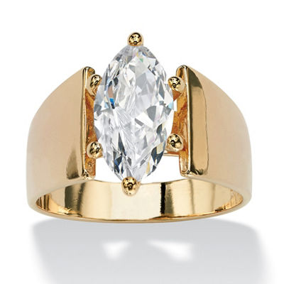 Diamonart Womens 2 1/2 CT. T.W. White Cubic Zirconia 14K Gold Over Brass Engagement Ring