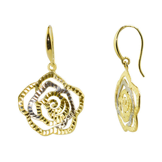 Sechic 14K Gold Flower Drop Earrings