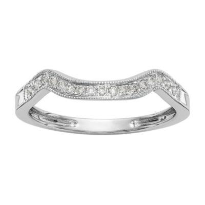 Womens 1/10 CT. T.W. White Diamond 14K White Gold Wedding Band