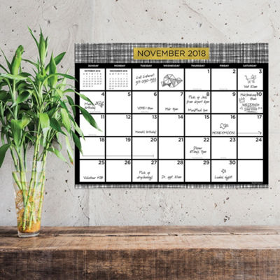 July 2018 - June 2019  Black White and Gold Mini Desk Pad Calendar