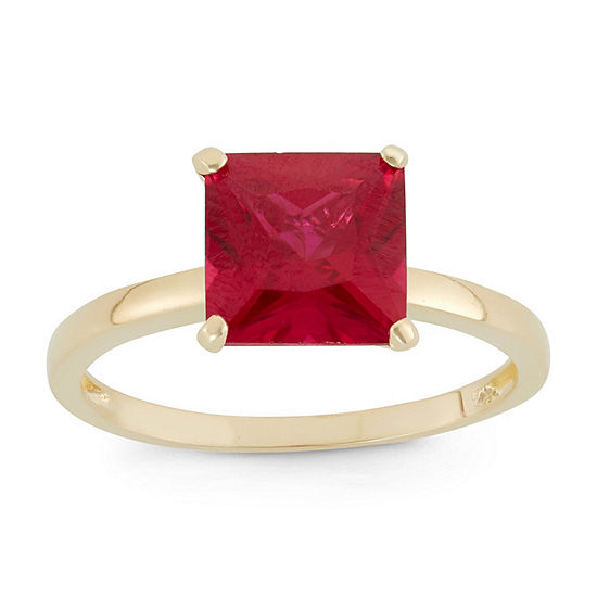 Womens Lab Created Red Ruby 10K Gold Solitaire Cocktail Ring