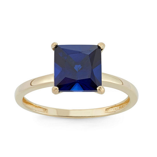 Womens Lab Created Blue Sapphire 10K Gold Solitaire Cocktail Ring