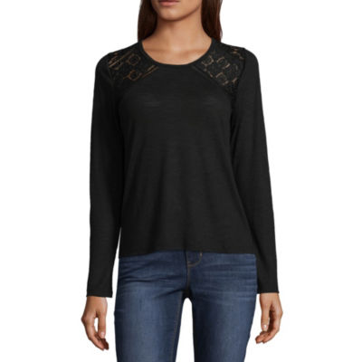 Cut And Paste Long Sleeve Scoop Neck Jersey Blouse-Juniors