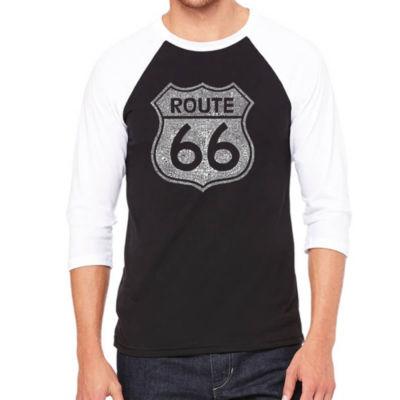 Los Angeles Pop Art Men's Big & Tall Raglan Baseball Word Art T-shirt - CITIES ALONG THE LEGENDARY ROUTE 66