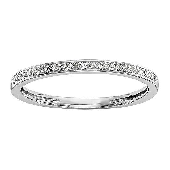 Womens 1/6 CT. T.W. Genuine White Diamond 14K White Gold Wedding Band