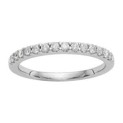 Womens 2MM 1/3 CT. T.W. Genuine White Diamond 14K White Gold Wedding Band