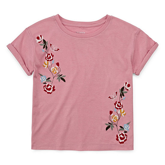 Arizona Roll Sleeve Embroidered Tee - Girls' 4-16 & Plus