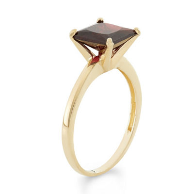 Womens Red Garnet 10K Gold Solitaire Ring