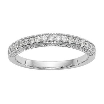 Womens 1/5 CT. T.W. White Diamond 14K White Gold Wedding Band