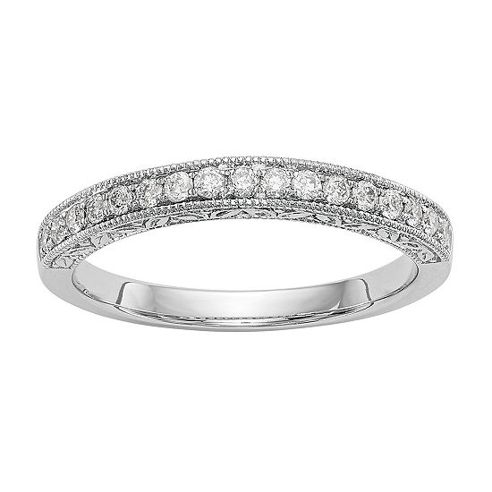 Womens 1/5 CT. T.W. Genuine White Diamond 14K White Gold Wedding Band