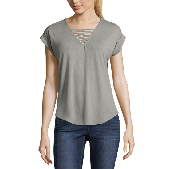 Almost Famous Short Sleeve V Neck Jersey Blouse-Juniors