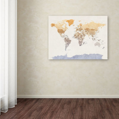 Trademark Fine Art Michael Tompsett Watercolour Political Map of the World by Michael Tompsett Graphic Art on Wrapped Canvas Giclee Canvas Art