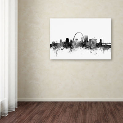 Trademark Fine Art Michael Tompsett St Louis Missouri Skyline B&W Giclee Canvas Art