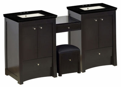84.75-in. W Floor Mount Distressed Antique WalnutVanity Set For 3H4-in. Drilling Black Galaxy Top Biscuit UM Sink