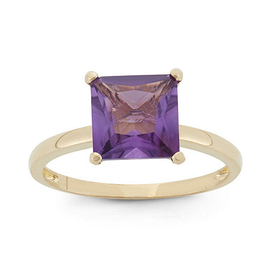 Womens Genuine Purple Amethyst 10K Gold Solitaire Cocktail Ring