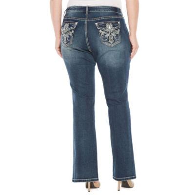 Boutique + Cross Bling Bootcut Jean - Plus