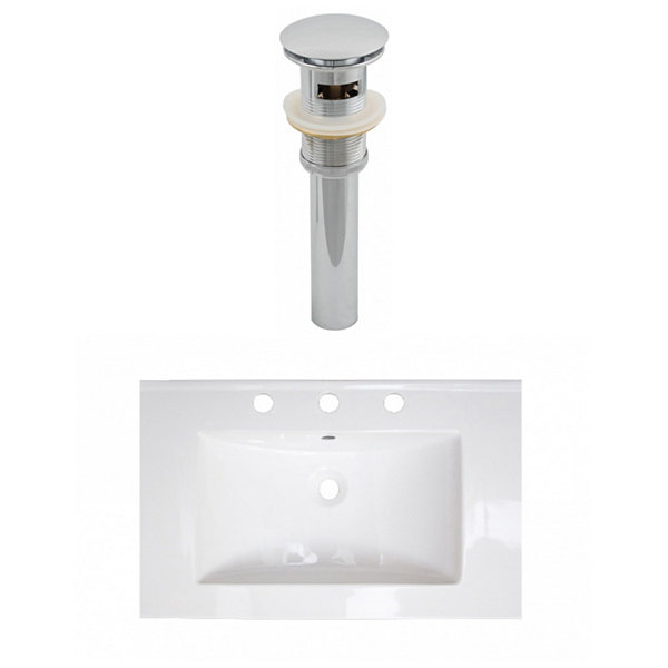 24-in. W 3H8-in. Ceramic Top Set In White Color -Overflow Drain Incl.