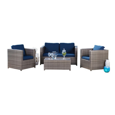 Sebastian Outdoor Wicker 4 Piece Set Patio With Cushions