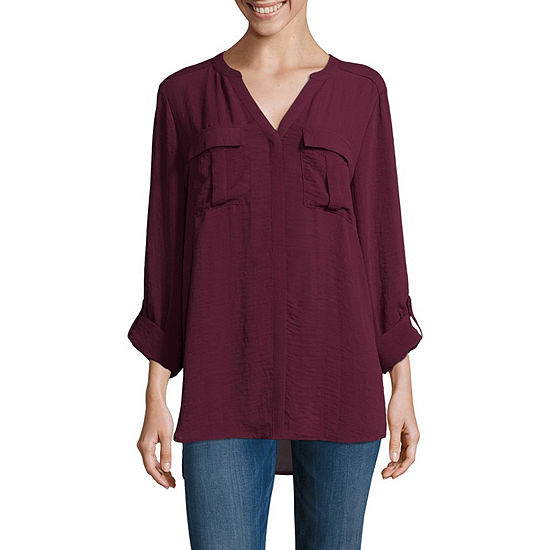 a.n.a Roll-Tab Sleeve Pocket Popover Blouse