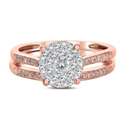 Womens 1/2 CT. T.W. Genuine White Diamond 14K Rose Gold Bridal Set