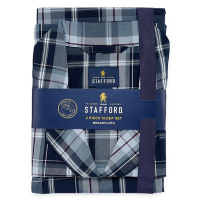 Stafford Mens Pant Pajama Set 2-pc. Long Sleeve
