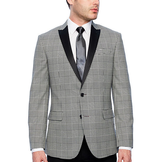 JF J.Ferrar Tartan Stretch Black and White Slim Fit Sport Coat
