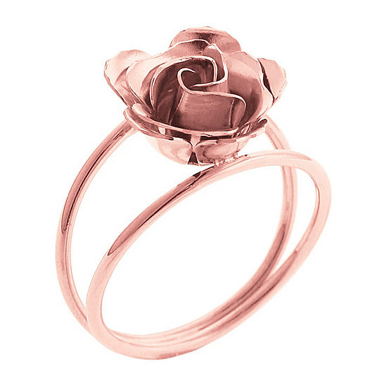 Made In Italy Womens 14K Gold 14K Rose Gold Flower Cocktail Ring