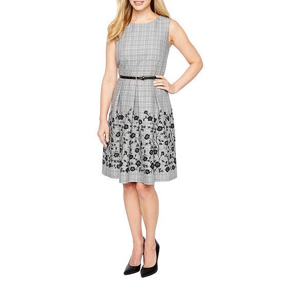 Liz Claiborne Sleeveless Plaid Fit & Flare Dress