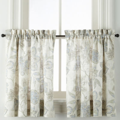 JCPenney Home Sullivan Floral Tier Pair Rod-Pocket Window Tiers