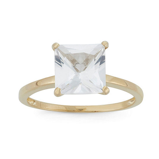 Womens Lab Created White Sapphire 10k Gold Solitaire Cocktail Ring
