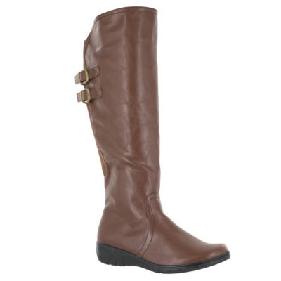 Easy Street Womens Tess Wedge Heel Zip Riding Boots
